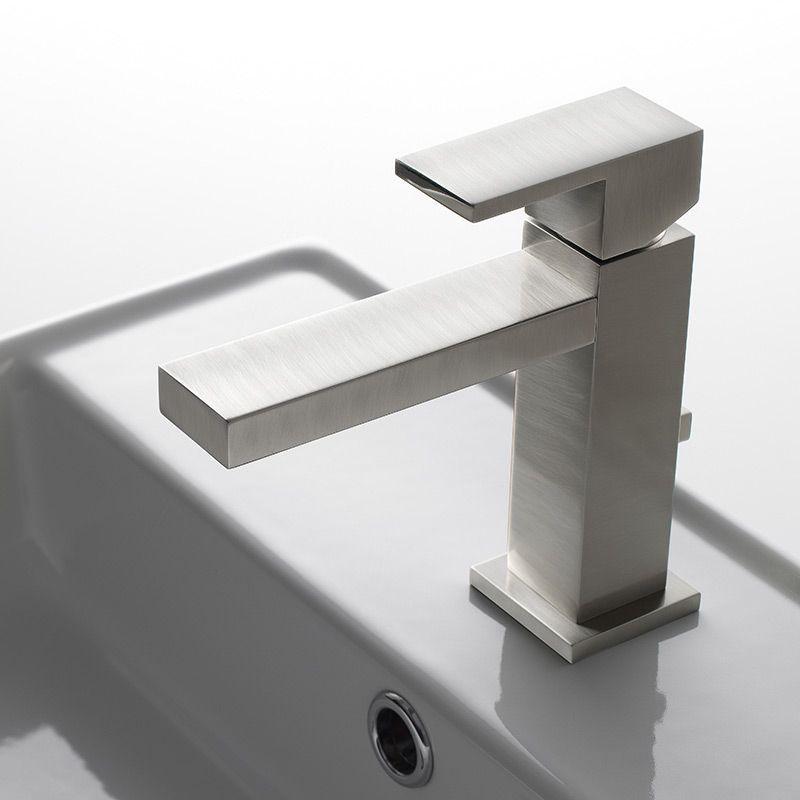"Robinet mitigeur lavabo carré nickel brossé, ""Q"" bec 138 mm"