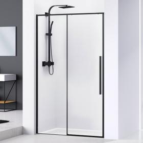 Porte de douche coulissante 100 à 140 cm, noir mat, Arena Black