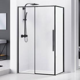 Cabine de douche coulissante 100 à 140cm, noir mat, Arena Black