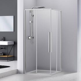 Cabine de douche coulissante de 90x90 ou 100x100 cm, chromé, Arena