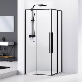 Cabine de douche coulissante de 80x80 à 100x100 cm, noir mat, Arena Black