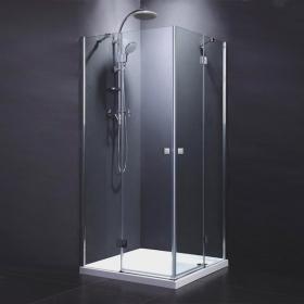 Cabine de douche portes battantes de 80x80 à 100x100 cm, chromé, Arena
