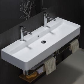 Lavabo double suspendu, avec porte-serviettes, 110x41,5 cm, Vera