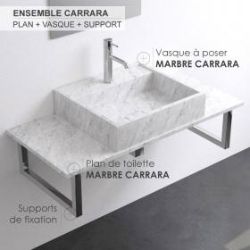 Plan de toilette avec vasque en marbre Carrara 100 cm, Marino