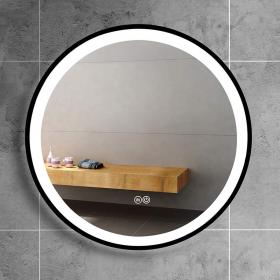 Miroir éclairant rond, bord noir, Ø60cm, Round