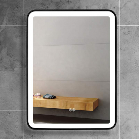 Miroir LED et anti-buée, bord noir, 60x80 cm, Squared black