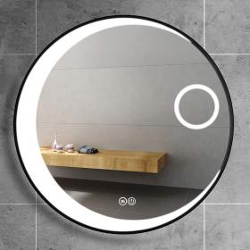 Miroir LED avec loupe Ø70 cm, bord noir, Loop