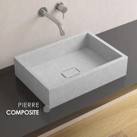 Vasque en pierre reconstituée Gris Polar, 50x35 cm, Pietra