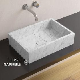 Vasque en marbre Carrara sans plage, 50x35 cm, Pietra