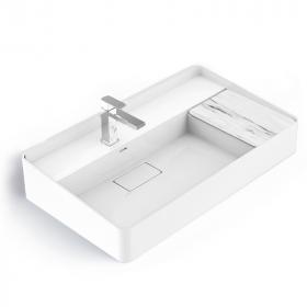 Lavabo vasque en résine minérale 80cm, tablette aspect marbre blanc, Infinity Elements