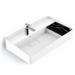 Lavabo vasque en résine minérale 80cm, aspect marbre noir, Infinity Elements