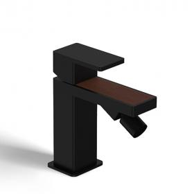 Mitigeur bidet noir mat, insertion cuir beige - Infinity elegance