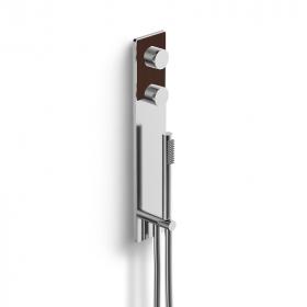 Mitigeur douche thermostatique en laiton chromé brossé 3 sorties, insertion cuir beige - Infinity Elegance