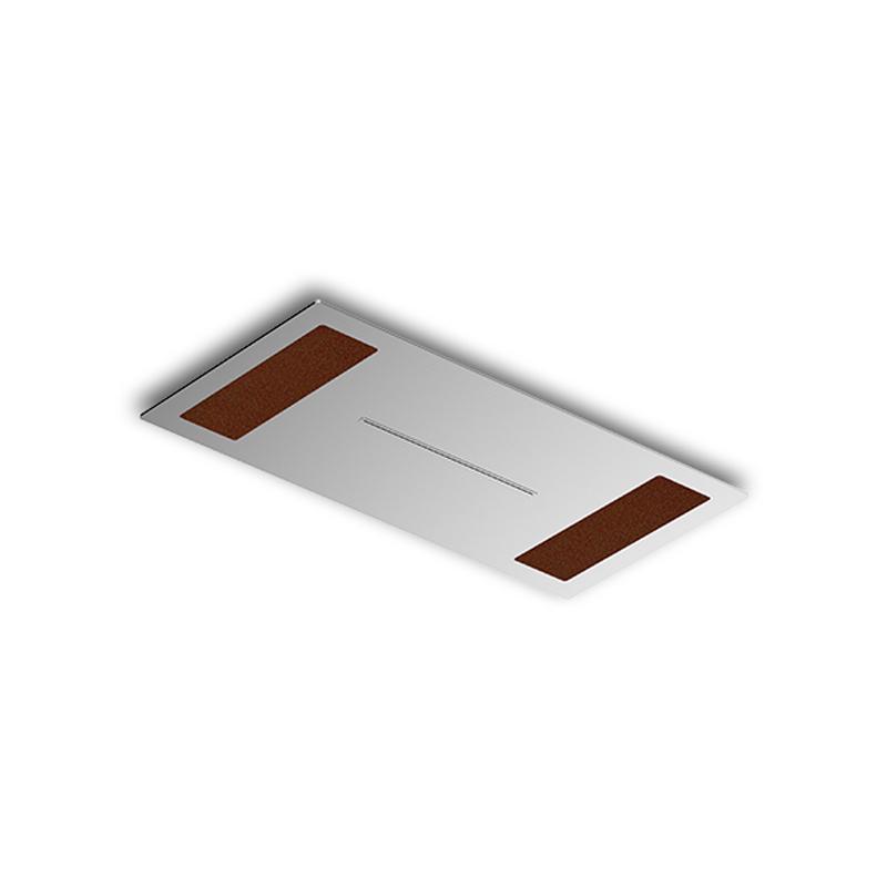 Douche de tête à encastrer laiton chromé brossé 200 X 400 mm insertion cuir beige - Module C - Infinity elegance