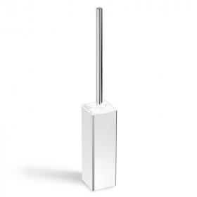 Porte-balayette à poser en laiton chromé, finition marbre blanc, Infinity Elements