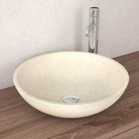 Vasque à poser en marbre beige, 42 cm, Sensa