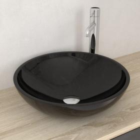 Vasque à poser ronde en marbre noir, 42 cm, Sensa