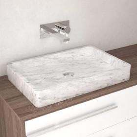 Vasque rectangulaire marbre blanc sans plage, 60x40 cm, Fosca