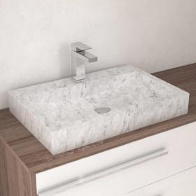 Vasque rectangulaire marbre blanc, avec plage, 60x40 cm, Crea