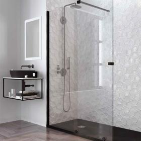 Paroi de douche fixe et coulissante 120 ou 140 cm, Finition noir, Pisa