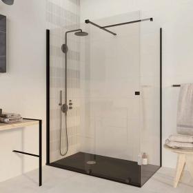 Cabine de douche coulissante 120 x 80cm, Finition noir, Pisa