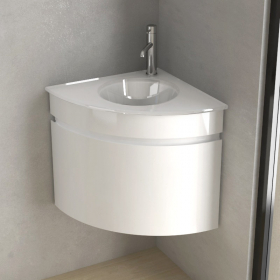 Lave-main d'angle avec plan-vasque en verre et rangement, 51x51cm, Corner
