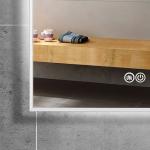 Miroir rétro-éclairant LED, anti-buée, 140x80cm, Pure