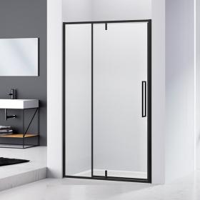Paroi de douche pivotante avec partie fixe, 120 à 140 cm, noir mat, Arena Black