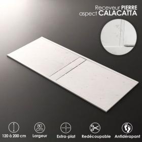 Receveur De Douche Calacata, 80x120, 140, 160 ou 200 cm, Apolo central