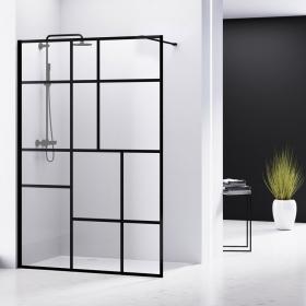 Pare-douche fixe 100 ou 120 cm, hauteur 200cm profilé noir, Look