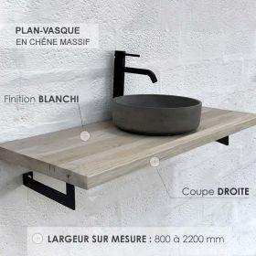 Plan-vasque en chêne massif, finition chêne blanchi, coupe droite, Source