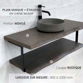 Plan-vasque en chêne massif avec étagère, finition wengé, coupe rustique, Source