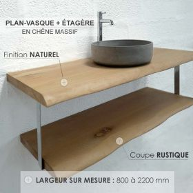 Plan-vasque en chêne massif avec étagère, finition chêne naturel, coupe rustique, Source