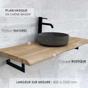 Plan-vasque en chêne massif, finition chêne naturel, coupe rustique, Source