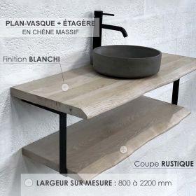 Plan-vasque en chêne massif avec étagère, finition chêne blanchi, coupe rustique, Source
