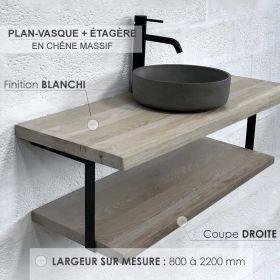 Plan-vasque en chêne massif avec étagère, finition chêne blanchi, coupe droite, Source