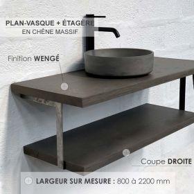 Plan-vasque en chêne massif avec étagère, finition wengé, coupe droite, Source