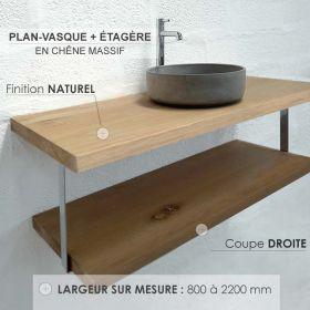 Plan-vasque en chêne massif avec étagère, finition chêne naturel, coupe droite, Source