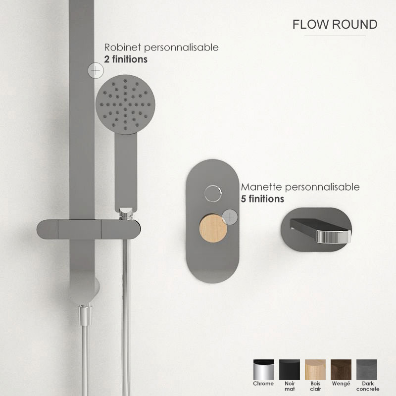 Composition mitigeur bain douche, personnalisable, Flow round