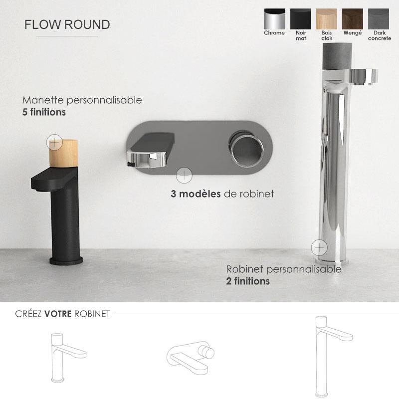 Robinet personnalisable, a poser, surélevé ou mural, Flow round