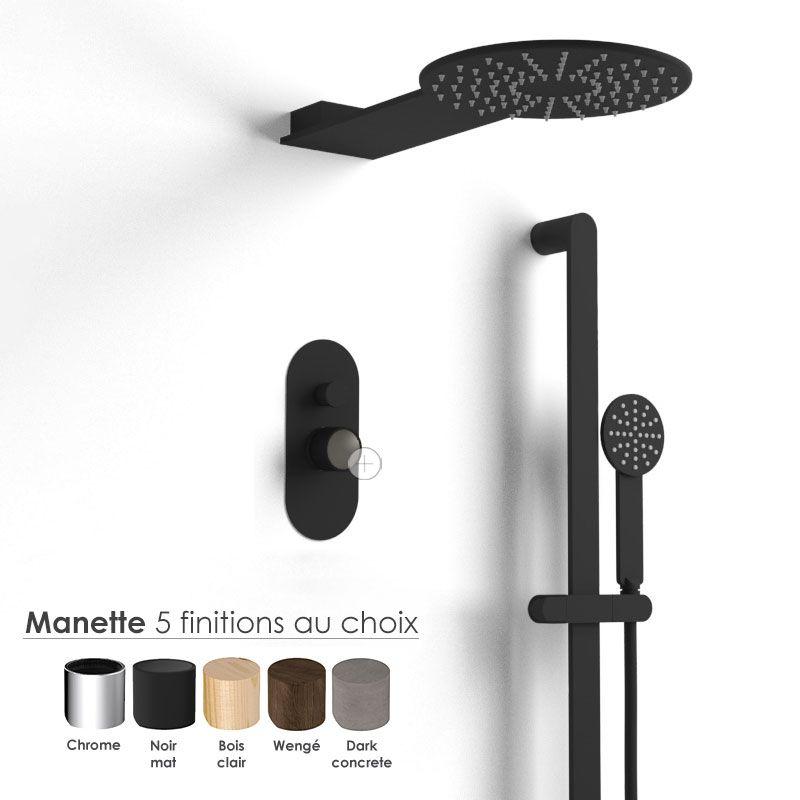 Composition mitigeur douche, noir mat, manette personnalisable, Flow Round