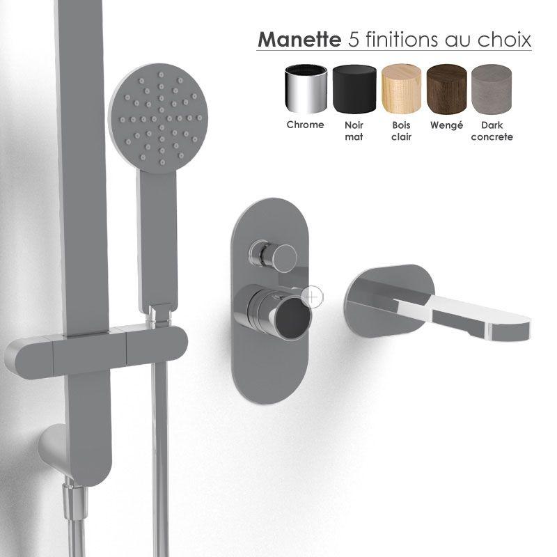 Composition mitigeur bain douche, chromé, manette personnalisable, Flow Round