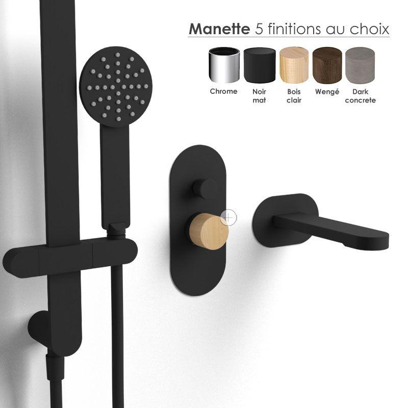 Composition mitigeur bain douche, noir mat, manette personnalisable, Flow Round