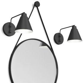 Pack miroir barbier noir, Ø60 cm, Liana et 2 appliques Vintage noires