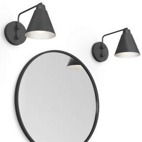 Pack miroir rond en métal noir mat, Frame et 2 appliques Vintage noires