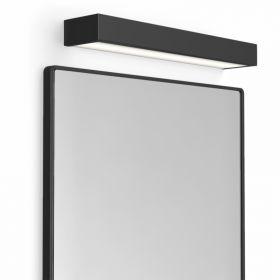 Pack miroir rectangulaire en métal noir mat, Frame, et applique box LED noir mat, Qube