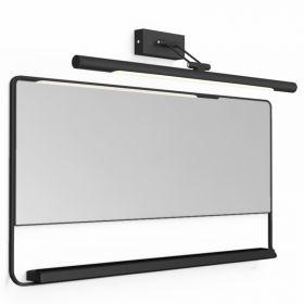 Pack miroir horizontal avec cadre métal et tablette noir, Chic et applique murale noire, Magda