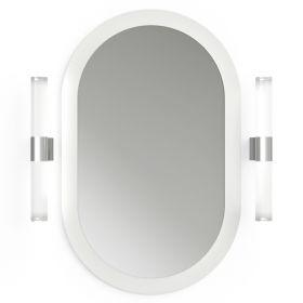 Pack miroir oblong, composite minérale, Boyard et 2 appliques LED 8W, Ronda