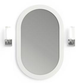 Pack miroir oblong, composite minérale, Boyard et 2 appliques chromées, Tube