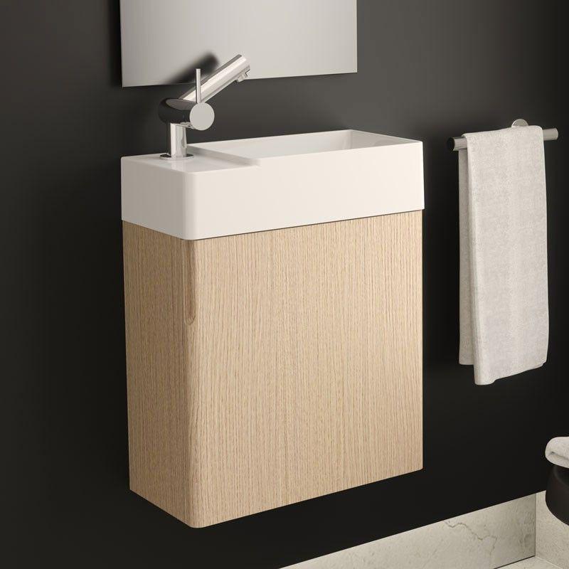 Meuble lave-main gain de place 40x20 cm, lavabo composite, Fancy